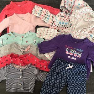 10 Piece Baby Girl Tops, Onesie, Bottom Bundle